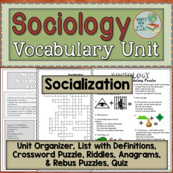 Sociology Socialization Vocabulary Unit