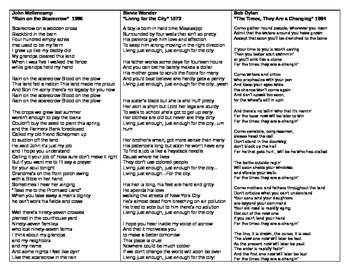 Sociology - Song Lyric Analysis activity