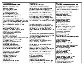 Sociology - Song Lyric Analysis activity