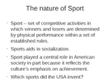 Sociology - Sports