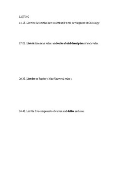 Sociology Test Chapters 1-3