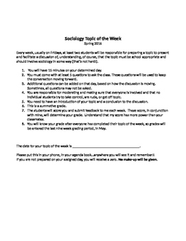 Sociology Topic of the Week