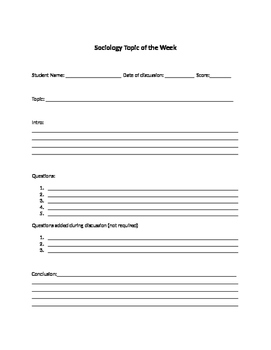 Sociology Topic of the Week Facilitator OUTLINE/planning sheet