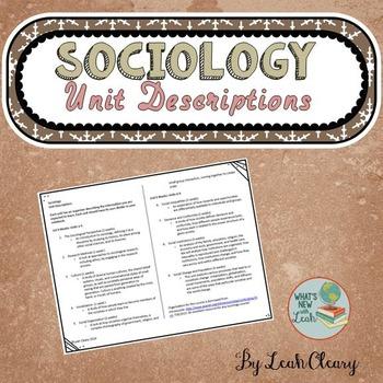 Sociology Unit Descriptions