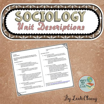 Sociology Unit Descriptions