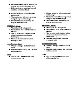 Sociology: Unit test on Culture Study Guide