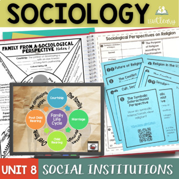 Sociology and Social Institutions Interactive Notebook Complete Unit Bundle