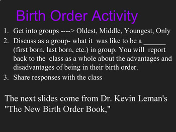 Sociology and psychology- Birth order and Personality Development Lesson