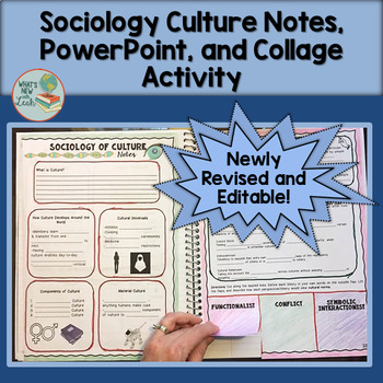 Sociology Editable Culture PowerPoint, Cloze Notes, and Collage Activity