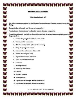 Sociology of Family Worksheet