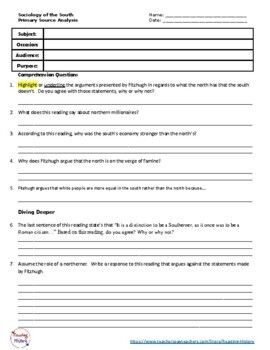 Sociology of the South Primary Source- Antebellum- SOAP