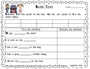 Sock Hop Kids Literacy Centers Word Sort and Sight Words