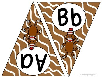Sock Monkey ABC Word Wall Pennant Banner