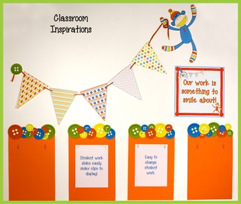 Student Work Display Toppers- Coordinates with Sock Monkey Classroom Theme