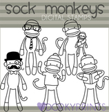 Sock Monkey Black Line Clip Art