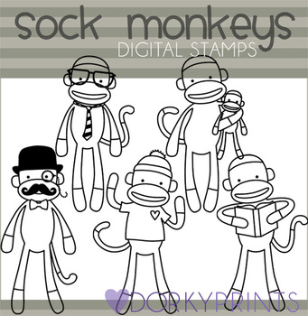 Sock Monkey Black Line Clip Art