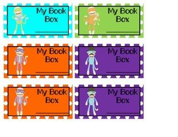 Sock Monkey Book Box Labels