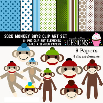 Sock Monkey Boys Digital Paper and Clip art Set