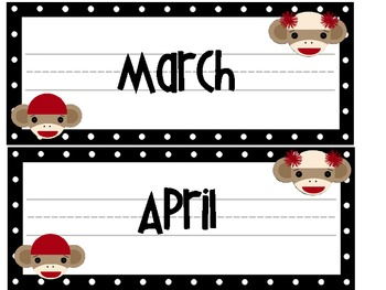 Sock Monkey Calendar Headers