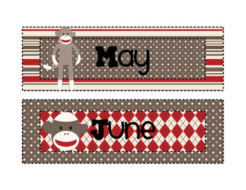 Sock Monkey Calendar Toppers