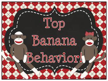 Sock Monkey ~ Chalkboard Style Behavior Clip Chart