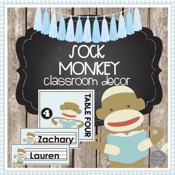 Sock Monkey Classroom Decor Set