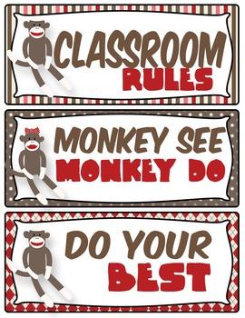 Sock Monkey Classroom Rules