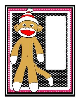 Sock Monkey Classroom Theme - Black Red Polkadot - 45 pages