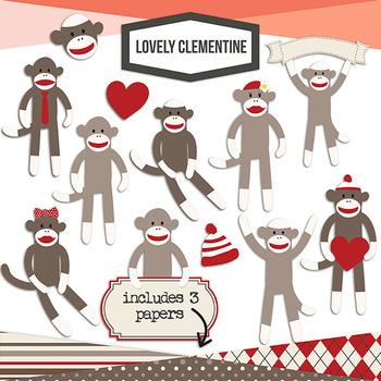Sock Monkey Clip Art -  digital stamps line art