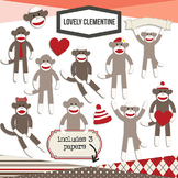 Sock Monkey Clip Art -  digital stamps line art - Lovely C