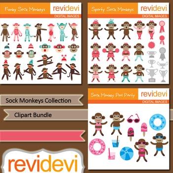 Sock Monkey Clip art Collection Bundle (3 packs)