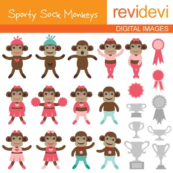 Sock Monkey Clip art - Sporty Sock Monkeys clipart