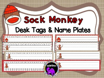 Sock Monkey Desk Tags and Name Plates