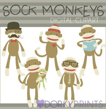 Sock Monkey Digital Clip Art