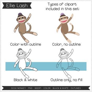 Sock Monkey Digital Clipart