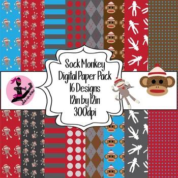 Sock Monkey Digital Paper- 16 Designs- 12 by 12- 300 dpi