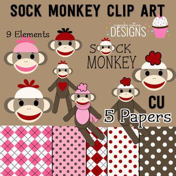 Sock Monkey Digital Papers and Clip Art Set