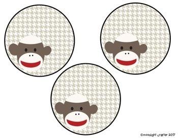 Sock Monkey Door Decor EDITABLE