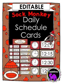 Sock Monkey EDITABLE Daily Schedule Cards {Elementary Classroom}