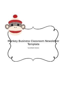 Sock Monkey Editable Teacher Newsletter Template