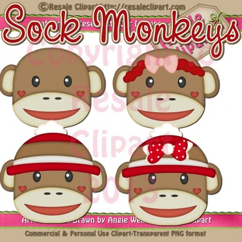 Sock Monkey Heads ClipArt - Commercial Use