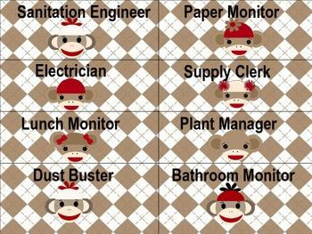 Sock Monkey Job Chart Cards