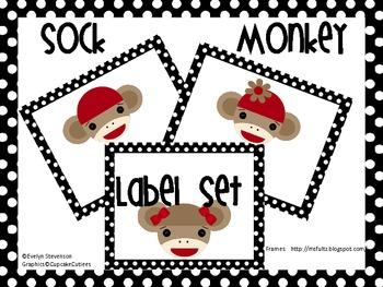 Sock Monkey  Editable Label Set