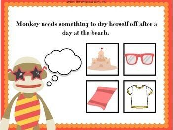 Sock Monkey Language Functions NO PRINT Teletherapy Lesson