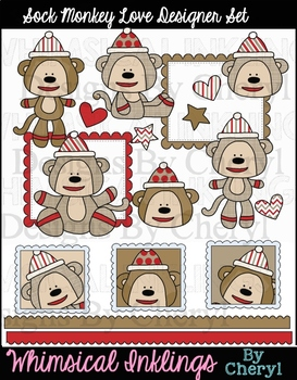 Sock Monkey Love Clipart Collection