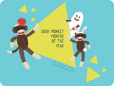 Sock Monkey Months of the Year Calendar Labels