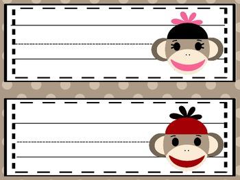 Sock Monkey Editable Name Plates