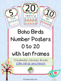 Boho Birds Number Posters (0 to 20) with Ten Frames
