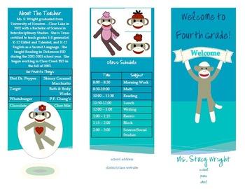 Sock Monkey Open House/Parent Night Brochure