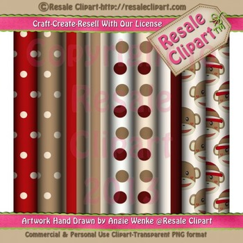 Sock Monkey Paper Pack - Commercial Use
